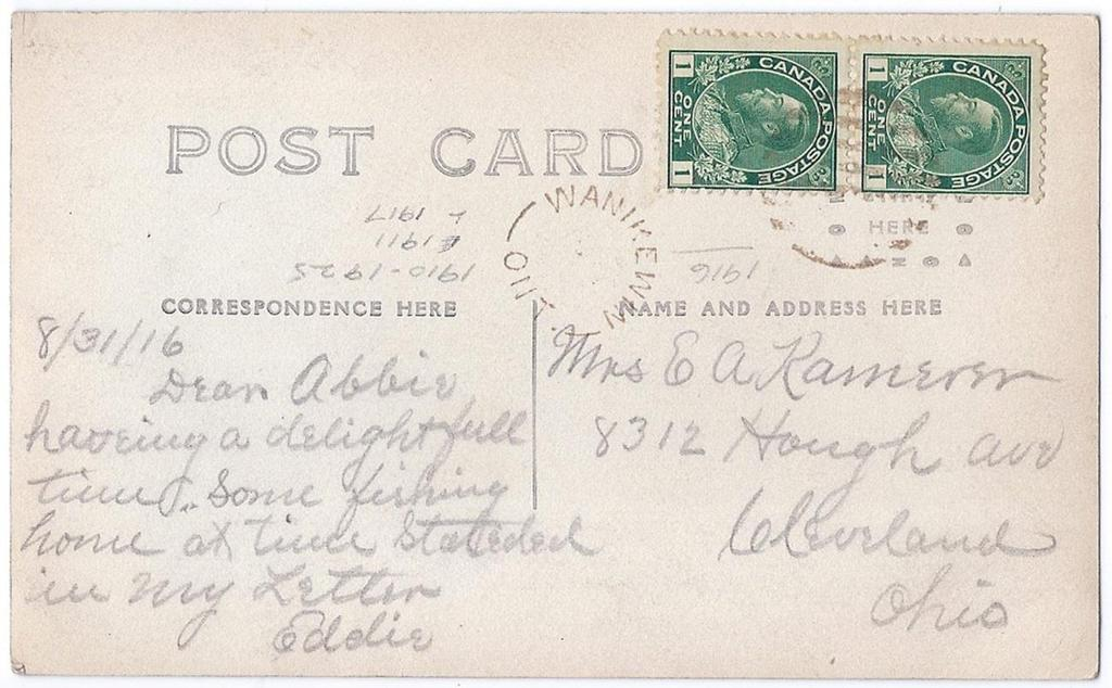 Item 260-38 Wanikewin Ont (Parry Sound) 1916, 1 Admiral (2) tied by grid cancel from Wanikewin Ont