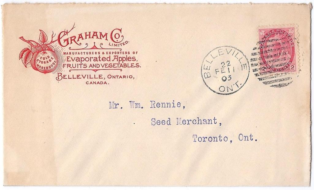 00 SOLD Item 260-39 Evaporated apples and fruits 1903, 2 Numeral tied by Belleville Ont duplex