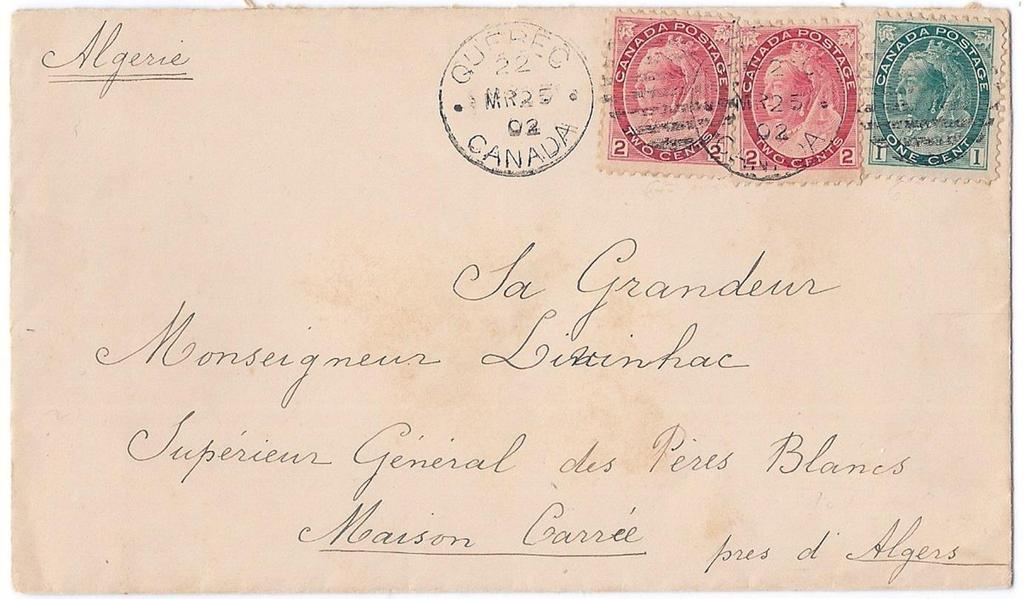 Item 260-40 5 UPU to Algeria 1902, 1, 2 (2) Numeral tied by Quebec duplex on cover paying 5 UPU letter rate to Algeria.