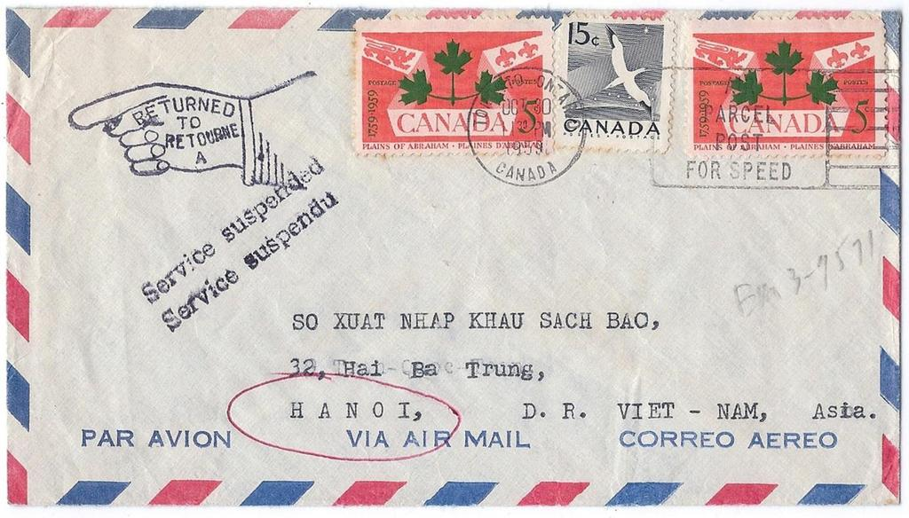 00 Item 260-41 Service suspended in Viet Nam 1959, 25 franking tied by Toronto machine on cover paying 25 rate to Hanoi,