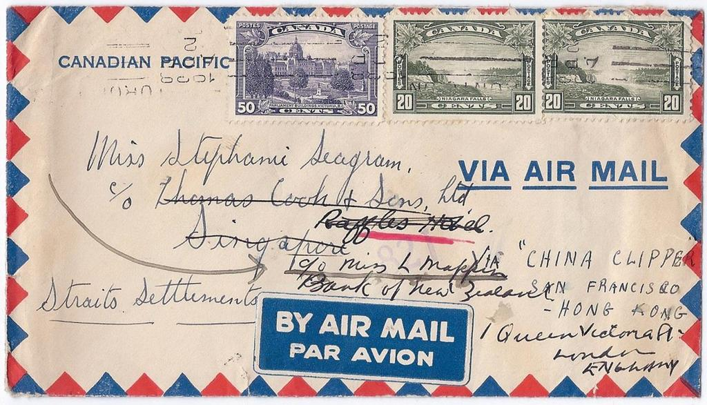 Item 260-04 By China Clipper to Straits Settlements 1938, 20