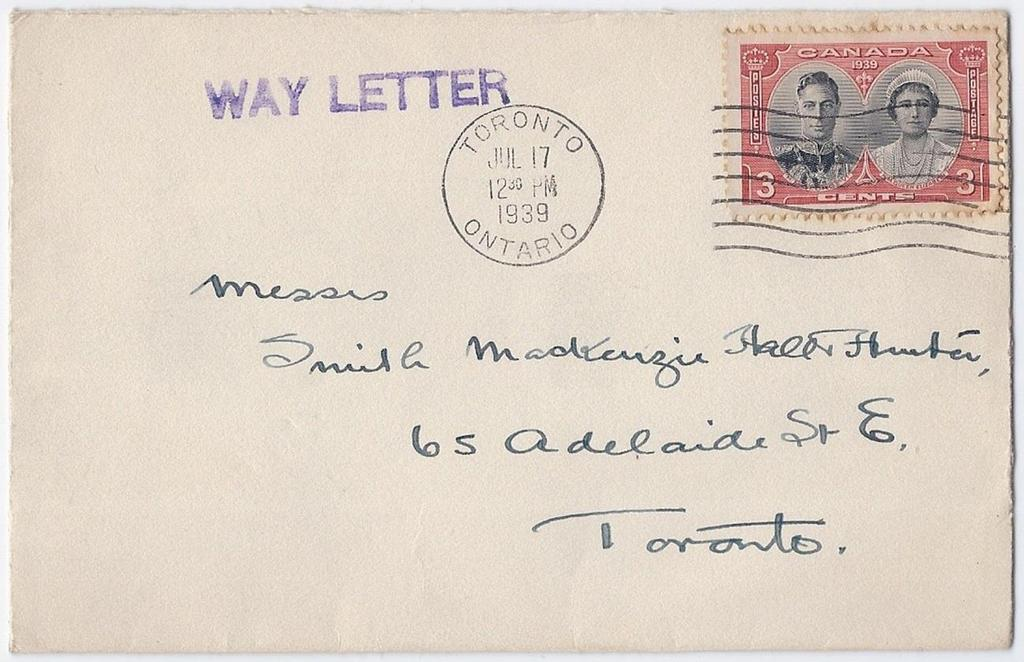 Item 260-05 Way letter entered in Toronto 1939, 3 Royal Visit tied by Toronto machine cancel