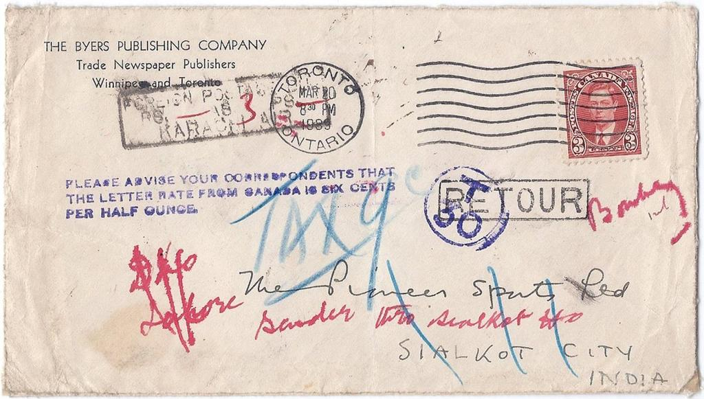 Item 260-09 Postage due in India and refused 1939, 3 Mufti tied by Toronto machine cancel on