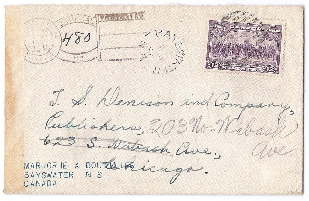 Item 260-11 Bayswater Nova Scotia 1937, 13 Charlottetown tied by grid cancel from Bayswater NS on