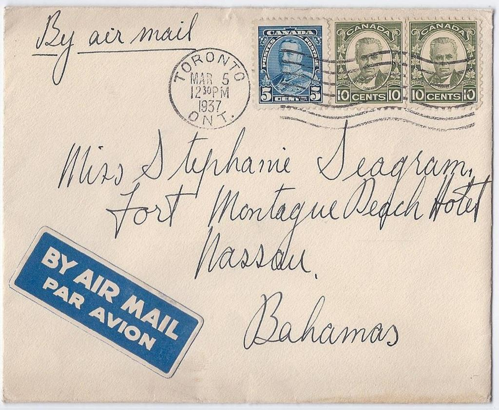 Item 260-13 25 airmail to Bahamas 1937, 5 Pictorial, 10 Cartier (2) tied by Toronto machine cancel on cover paying