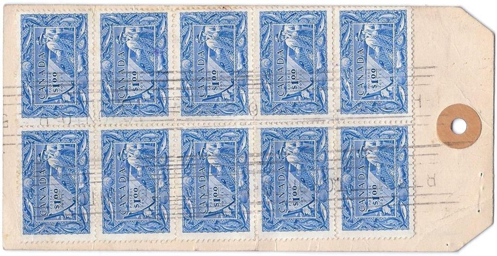 00 Fisherman block of 4 tied by Toronto roller cancel on Bank of Toronto tag paying 97 registered money packet (3