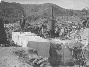 Located near Fort Bowie in MacIntosh Canyon sometimes known as Marble Canyon a marble mining operation was established in 1909 after positive exploration undertaken by the Arizona Geological Survey