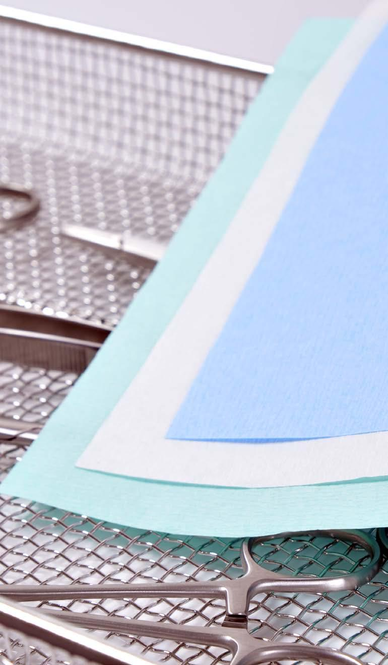 STERILIZATION PACKAGING PRODUCTS crepe wrapping papers are a safe and economical choice for wrapping of trays.