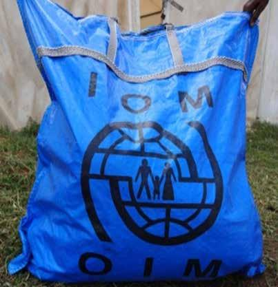 1 IOM Bag Bag The bag is designed to carry the NFI Kit that is to be given to beneficiaries at the distribution site. Item code 1100000007 Unit weight ~ 500g Packed volume 0.