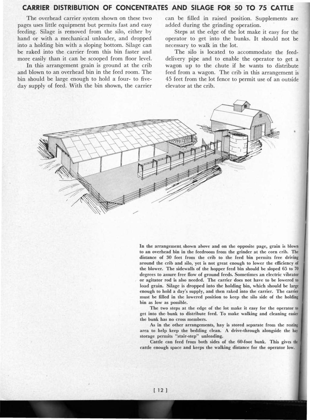CARRIER DISTRIBUTION OF CONCENTRATES AND SILAGE FOR 50 TO 75 ' CATTLE The overhead carrier system shown on these two pages uses little equipment but permits fast and easy feeding.