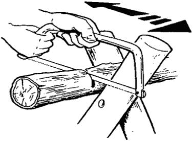 Always cover the blade of the saw after each use by using either a plastic 'clip-on' mask or tie a length of canvas around the blade. Figure 15 Cutting With a Bow Saw Note. From scoutingresources.