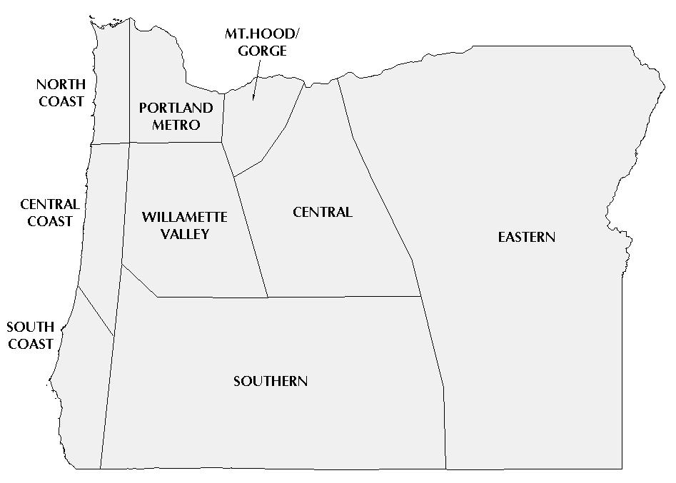 III. REGIONAL TRAVEL IMPACTS North Coast Willamette Valley Southern Eastern Clatsop Benton Douglas (East) Baker Tillamook Clackamas (South) Jackson Gilliam Lane (East) Josephine Grant Central Coast