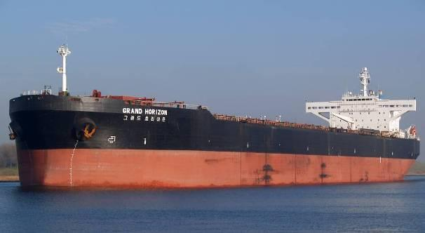 Grand Horizon (ex-tropic Brilliance, ex-tromso Brilliance). IMO 9000596. Double hull tanker converted to bulk carrier in 2010. Length 274 m, 21,996 t. South Korean flag.