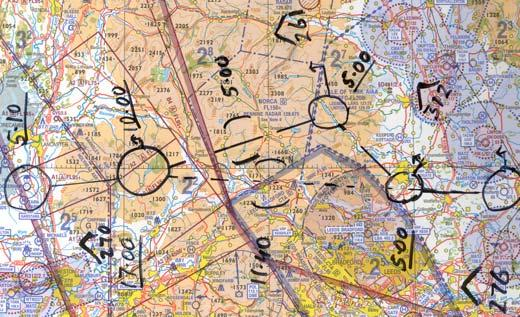 e) You must expect to have to fly one of these alternative routes, so carry sufficient fuel for the longer one, and plan them both carefully with calculated times and headings.
