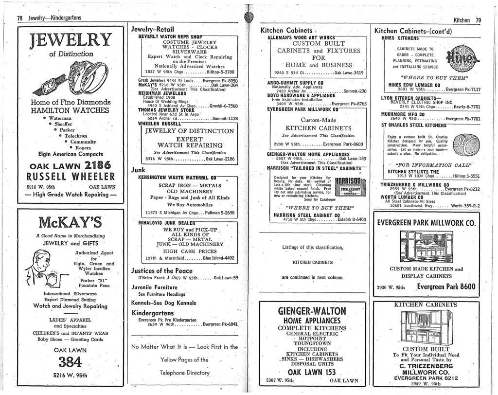 78. Jewelry-Kindergartens JEWELRY of Distinction Home of Fine Diamonds HAMILTON WATCHES.. Waterman o Sheaffer o Parker o Telechron e Community. Rogers Elgin Amer-ican Compacts OAK LAWN.2186 RUSSELL.