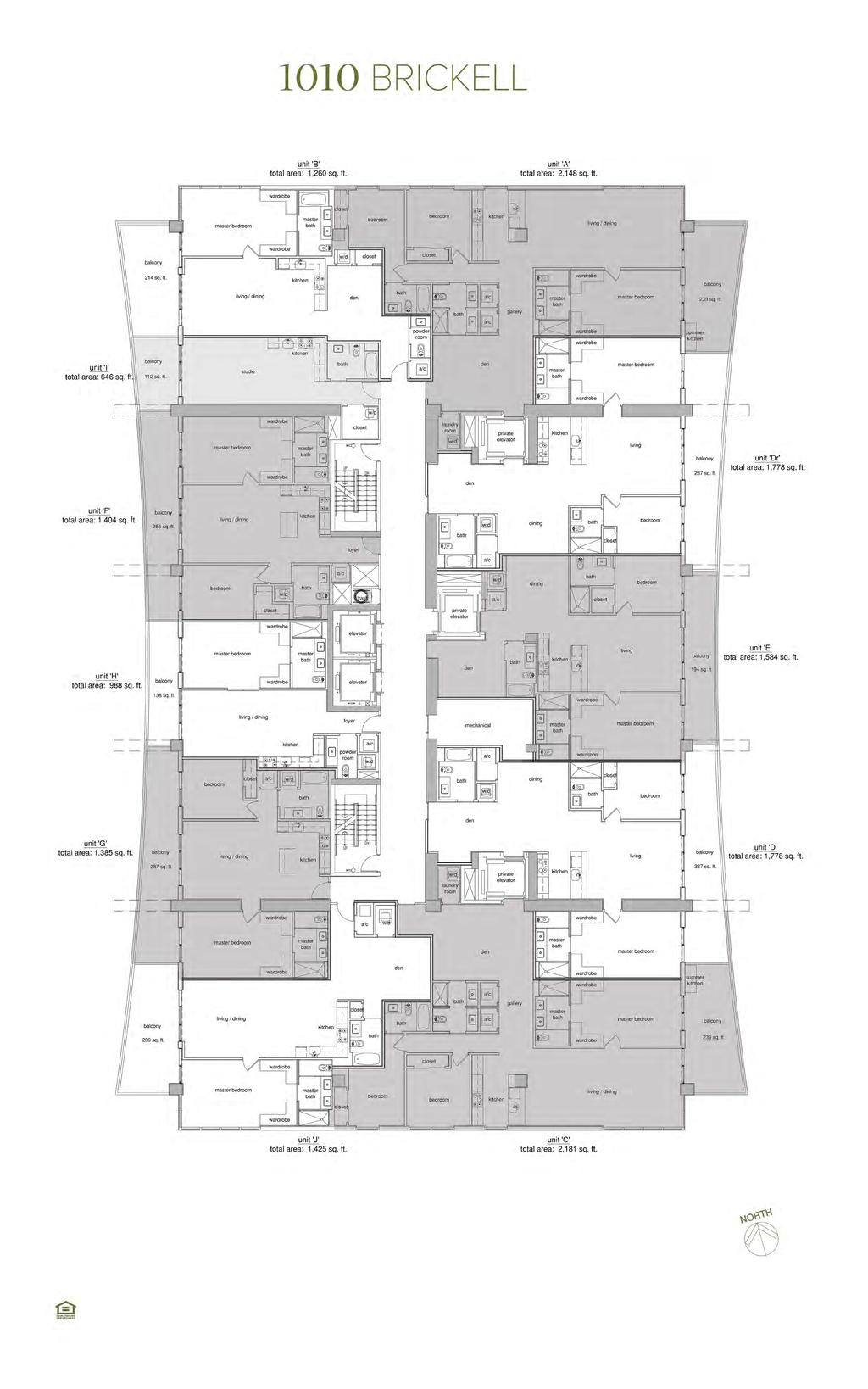 Levels 14-30 - Typical Unit Floor Plans Total square footage includes the balcony. Plans are not to scale.