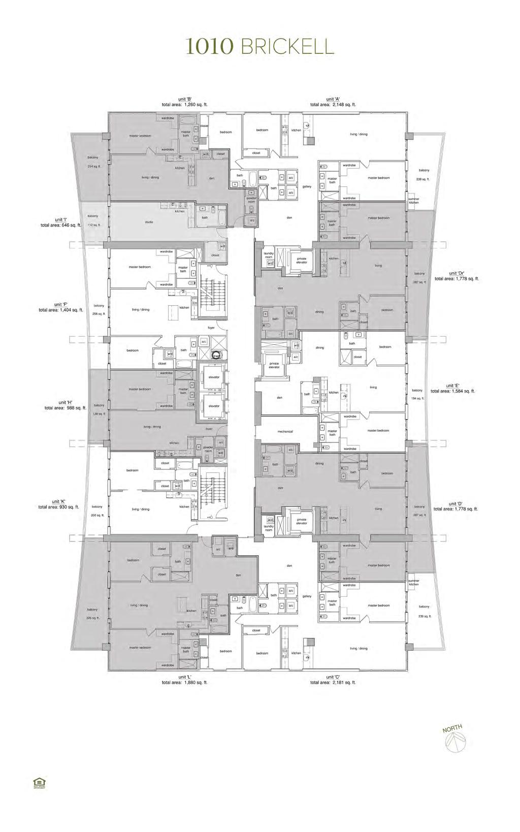 Levels 31-47 - Typical Unit Floor Plans Total square footage includes the balcony. Plans are not to scale.