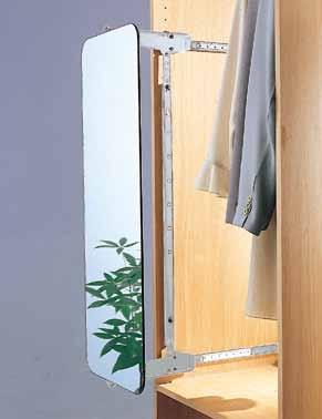 * With fold-down drawer front supporter 945 310 360 ~ 520 500 AW5179 Lateral Pull-Out & Swivel Mechanism * For mirror panel (not included) * With pocket