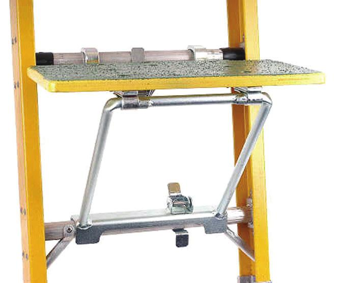 Built to provide years of heavy duty use, the platform features hooks and unique spring loaded latches that lock the platform frame securely to the rungs of the ladder.