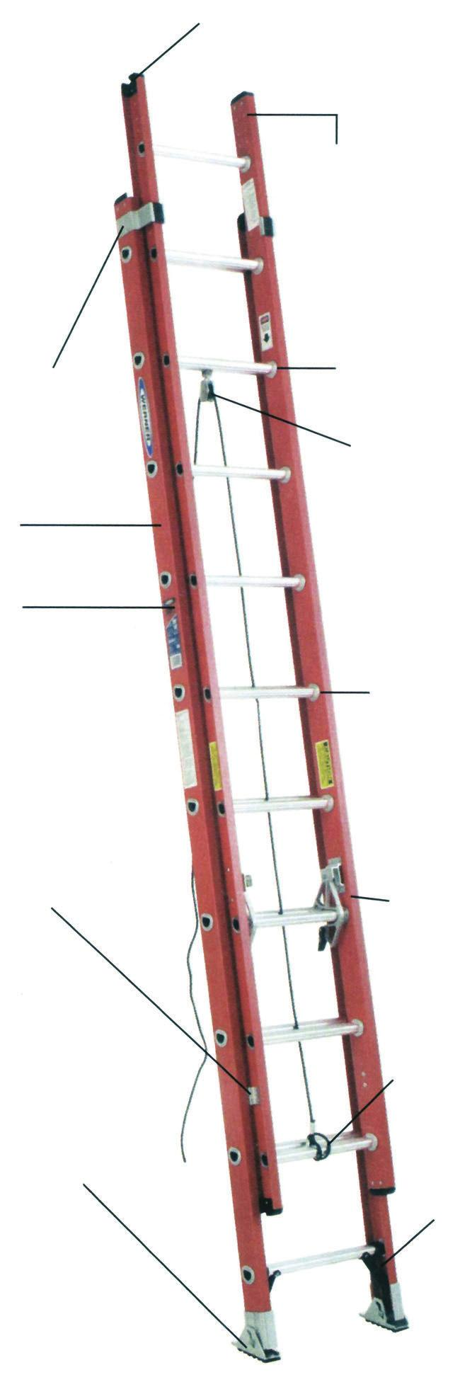 Phone: 800-227-4255 www.hallssafety.com Fax: 724-458-0592 FIBERGLASS D-RUNG EXTENSION LADDER/STRAIGHT LADDER M a r - r e s i s ta n t 300 Lbs. Load Capacity, Type 1A Duty Rating D6216-2* 36.