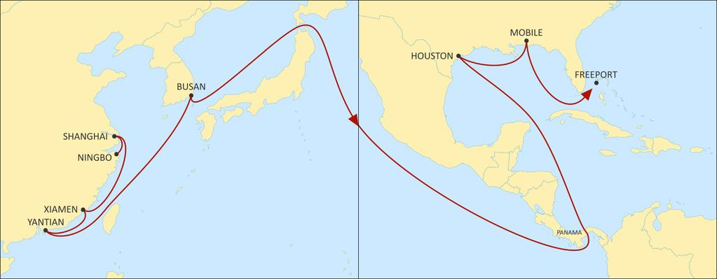 ASIA TO USA EAST COAST LONE STAR EXPRESS EASTBOUND An express direct US Gulf service through Panama, linking South and Central China and South Korea with Houston and Mobile, allowing for competitive