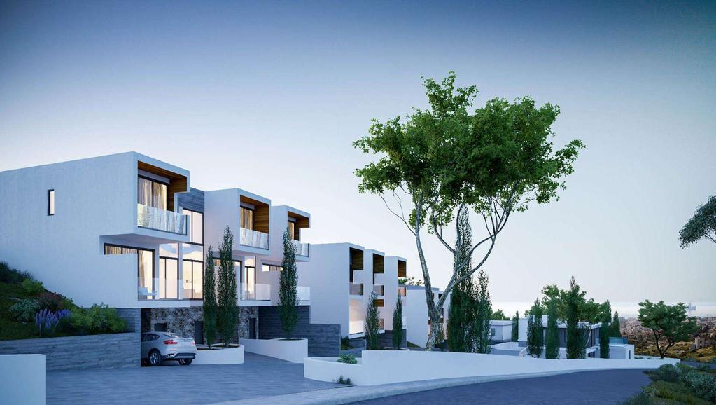 Arias modern architectural lines are carried through to the townhouses with striking
