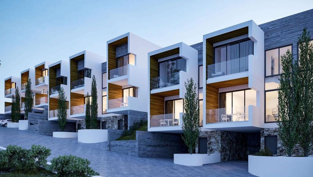 A perfect balance of materials, Aria townhouses feature fairface concrete, natural stone and iroko framed