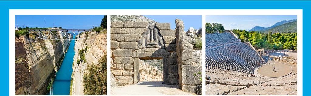 Photo stop at the Corinth Canal Walk under the Lions Gate Visit the Ancient Theater in Epidaurus FULL DAY TOUR TO MYCENAE & EPIDAURUS TOUR INCLUSIVE OF LUNCH (With Two- and Three-Night Packages)