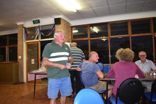 Below: Dave Swann our after dinner speaker, and Bill winning and then losing the lucky number prize!