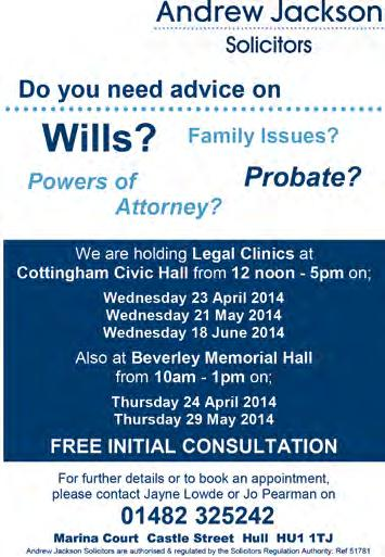 Free Legal Advice Clinics Following the success of our Wills Clinics, held monthly at Civic Hall, Cottingham, our Family Law Specialists will now be available to offer legal advice on Family issues.