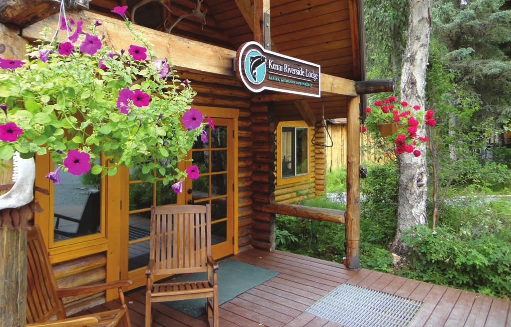 The Kenai Riverside Lodge is located on the banks of the Upper Kenai