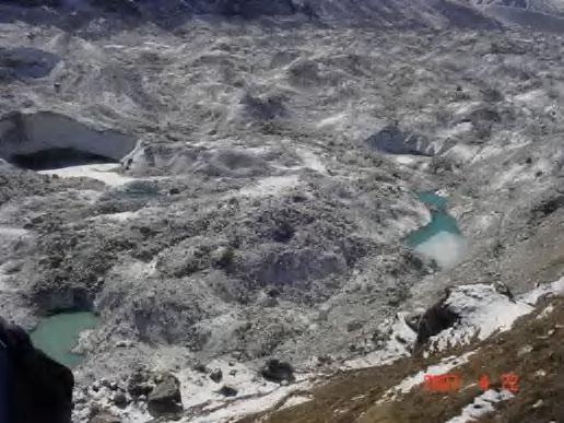 Formation of supra glacier lakes