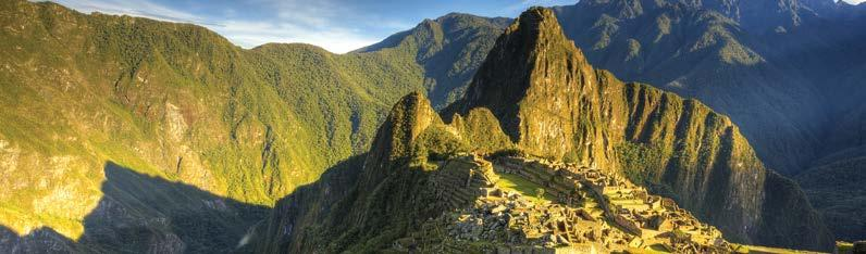 Machu Picchu, Peru Peru Highlights 21 Days Day 1 Lima Bienvenidos to Peru! Get your bearings as you take an orientation walk of Miraflores in the afternoon.