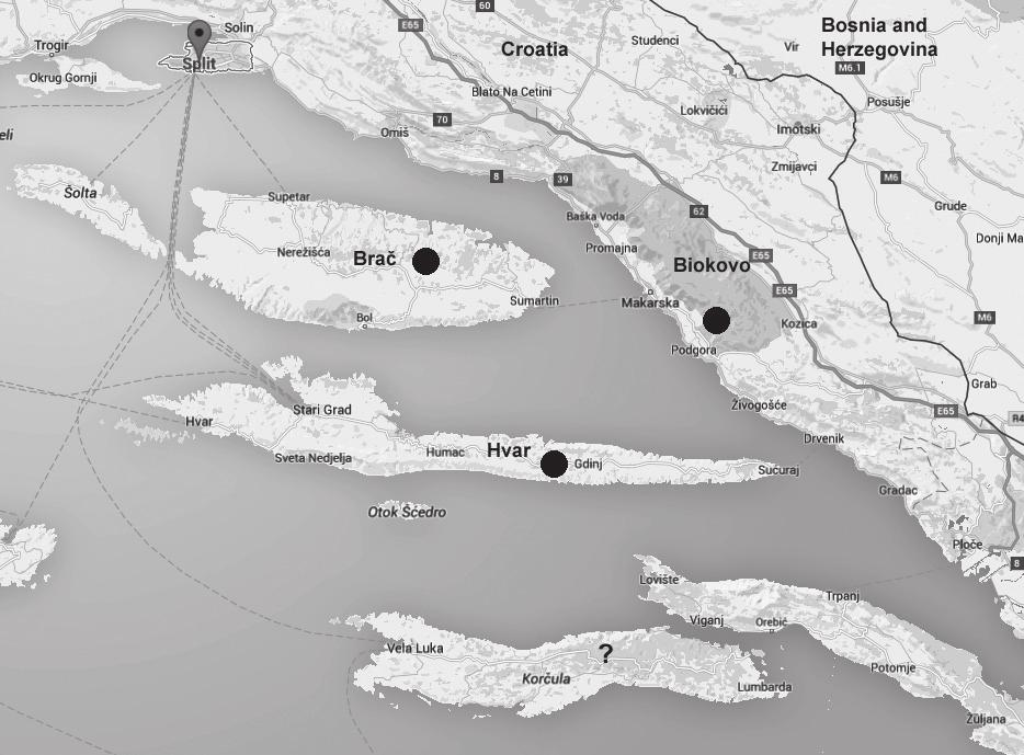 There are also unconfirmed hints from Korcula (indicated with questionmark). Map based on Google Maps. known section.