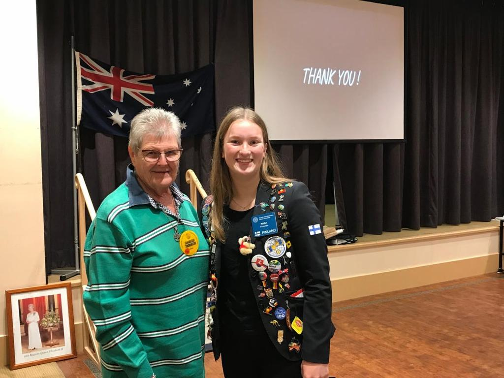 Wednesday 16 May 2018 Meeting 1405 Quote for mother s day I owe a lot to my parents, especially my Mum and Dad Greg Norman Well we had a great talk from Kaisa our YEP student from Finland this week.