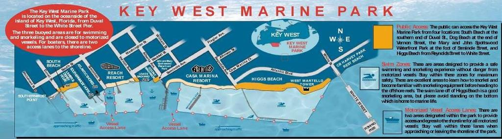 The Key West Marine Park Reef Relief and the City of Key West, established Key West Marine Park in 2001.