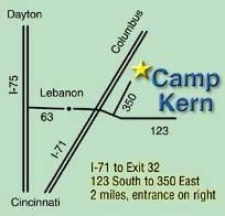 Directions and Map to YMCA Camp Kern 5291State Route 350 Oregonia, OH 45054 513-932-3756 www.campkern.org From North Dayton: I-75 to State Route 63 Monroe/Hamilton (Exit 29).