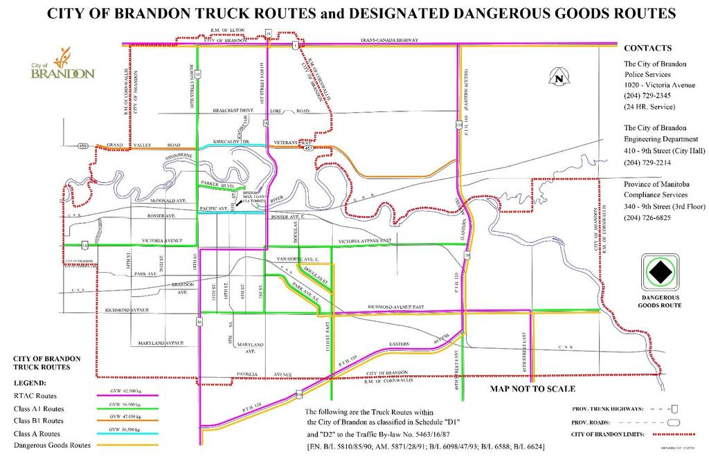 Trucking & Dangerous Goods Routes in Brandon