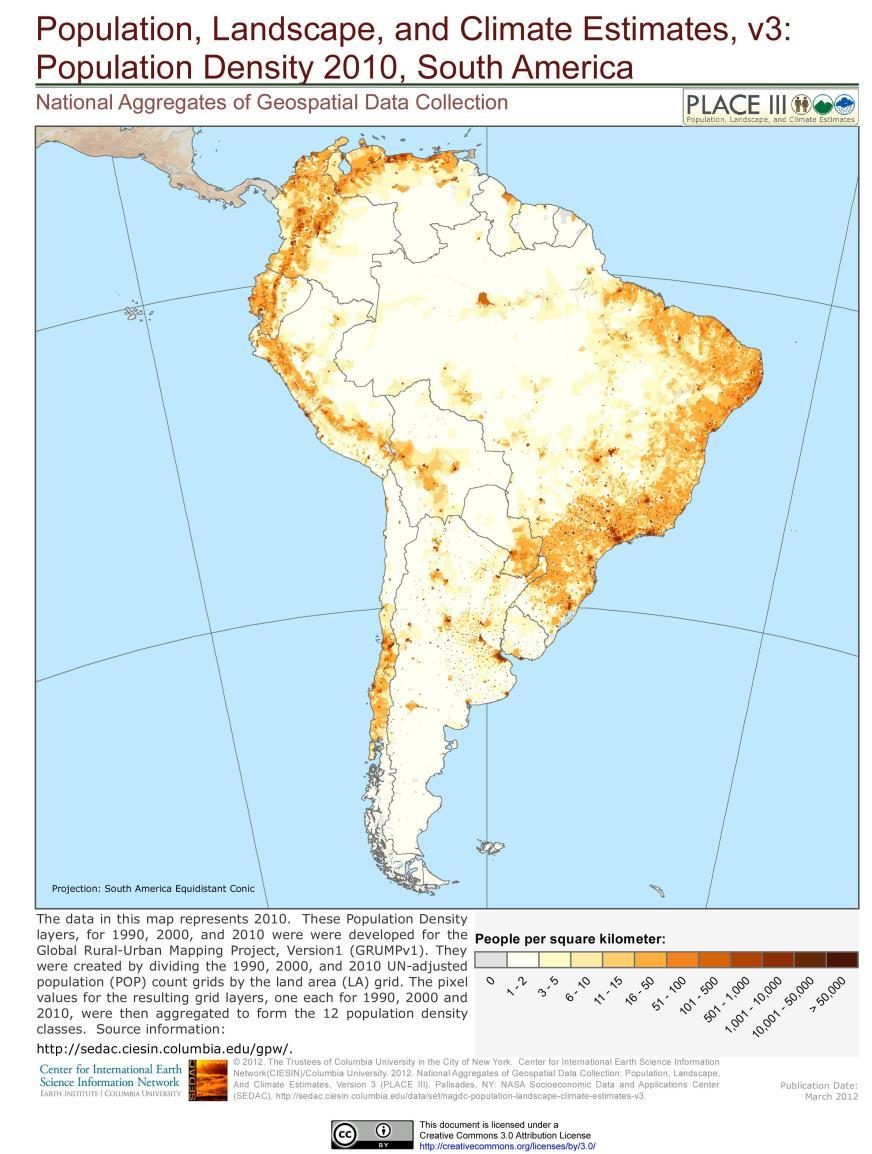 Why is the population density so unevenly distributed in the Andes and the Pampas?