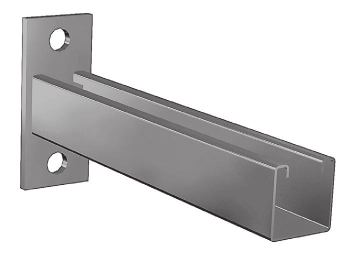 "5 /8 "" Holes 9 /6 "" Dia. Standard Square Channel ( 5 /8 "" x 5 /8 "" ) 2 Gauge Single Strut Bracket A Uniform Load* (Lbs) Conc. Load* at End (Lbs) 2"" 600 25 8"" 400 65 * Mounted on 2 Ga."