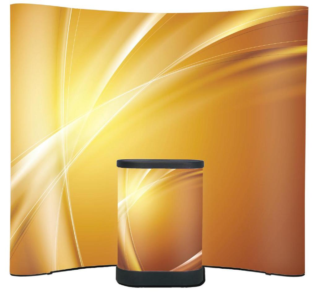 EXHIBITION SYSTEMS CROYDON Pop-Up Display Optional lights available Optional countertop available A strong and lightweight curved aluminum pop-up system, the