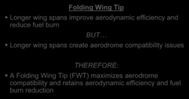 Folding Wing Tip Longer wing spans improve aerodynamic efficiency and reduce fuel burn BUT Longer wing spans create