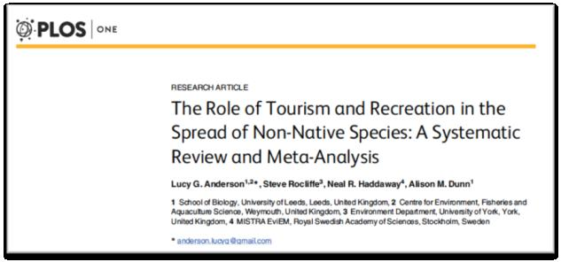 The role of tourism The study by Anderson et al. (2015) confirmed that the abundance and richness of IAS are significantly higher in sites where tourist activities take place than in control sites.