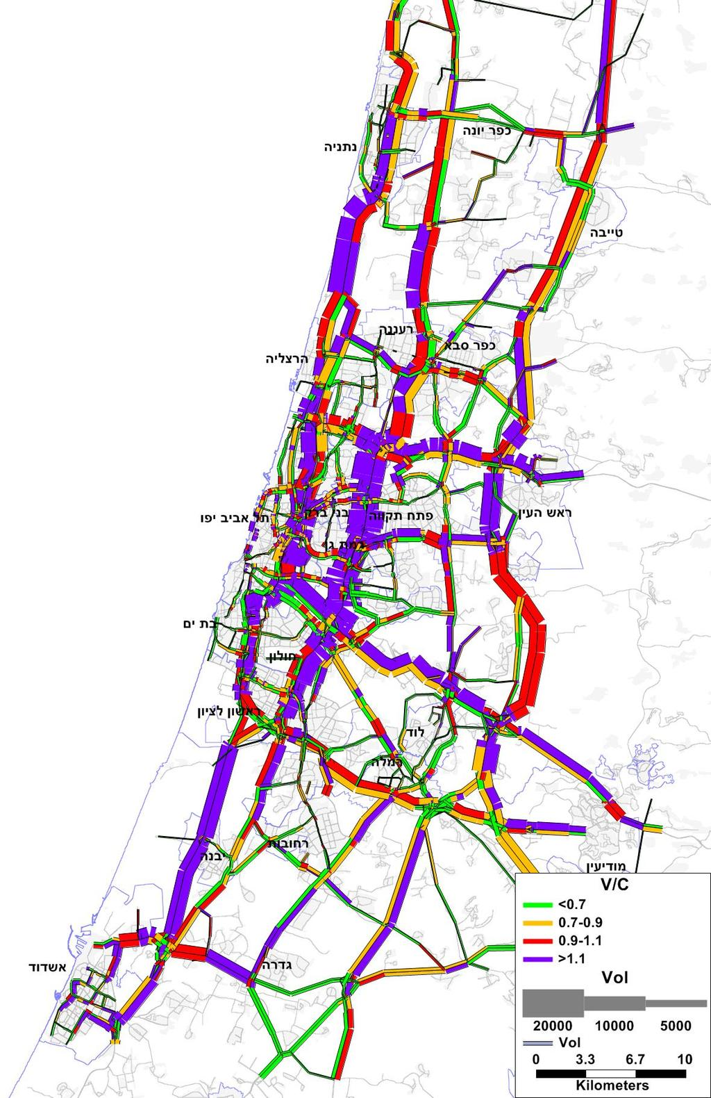Volume & congestion map of morning peak hour Red line only Masterplan Difference % of road sections in congestion Estimated