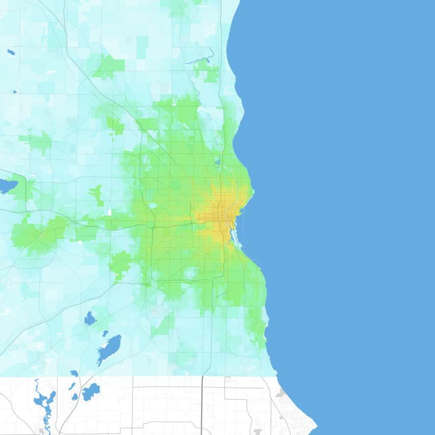 Milwaukee Milwaukee-Waukesha-West Allis, WI Jobs within 30 minutes by transit, averaged 7 9 AM 0 1,000 1,000 2,500 2,500 5,000 5,000 7,500