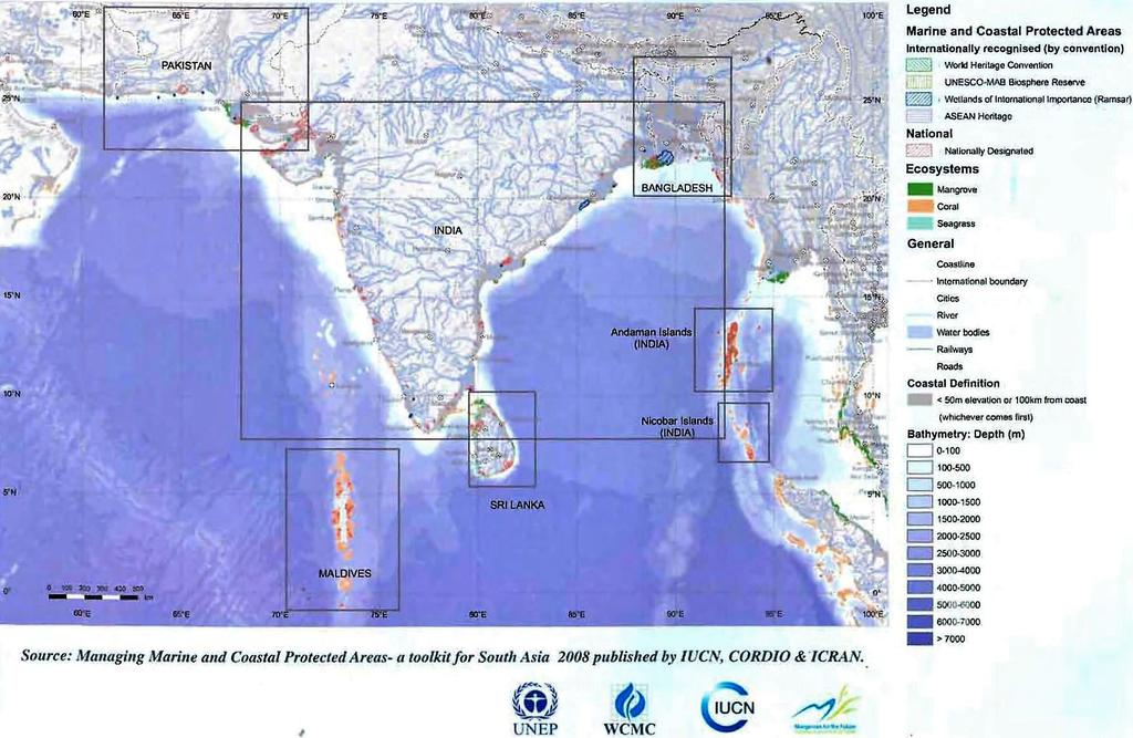Coral Reef Map in SAS region Global Importance of Coastal and Marine Ecosystems in SAS: 6.