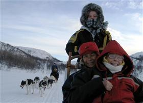 Tour by dog sledges along the Norwegian- Russian border and into the Siberian forest. You drive you own dog sledge (2 persons per sledge).
