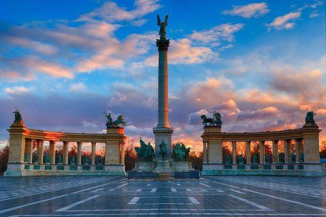 The Heroes Square During Sunset The city of Budapest has tons of UNESCO s World Heritage Sites such as the Danube, Heroes Square, Buda Castle, and many