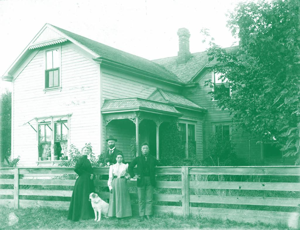 The Evans Family, Japanese American friends and the Evans Family Home. The Evans family lived along the Green River on the north side of Auburn in the early 1900s.