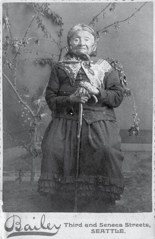 She was the eldest daughter of Chief Seattle, and her photograph was often featured on cabinet cards like this one and other tourist memorabilia.